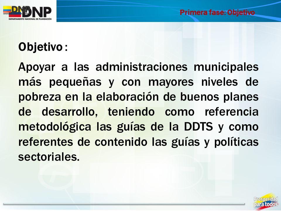 Primera fase: Objetivo Objetivo : Apoyar a las administraciones municipales más pequeñas y con mayores niveles de pobreza en la elaboración de buenos planes de desarrollo, teniendo como referencia metodológica las guías de la DDTS y como referentes de contenido las guías y políticas sectoriales.