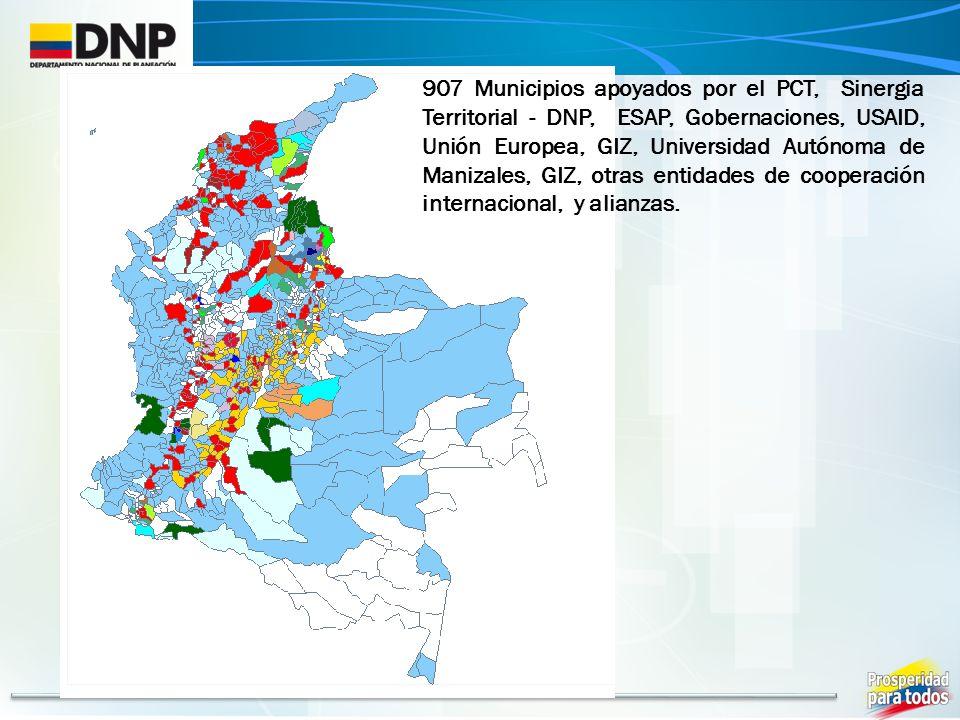 907 Municipios apoyados por el PCT, Sinergia Territorial - DNP, ESAP, Gobernaciones, USAID, Unión Europea, GIZ, Universidad Autónoma de Manizales, GIZ