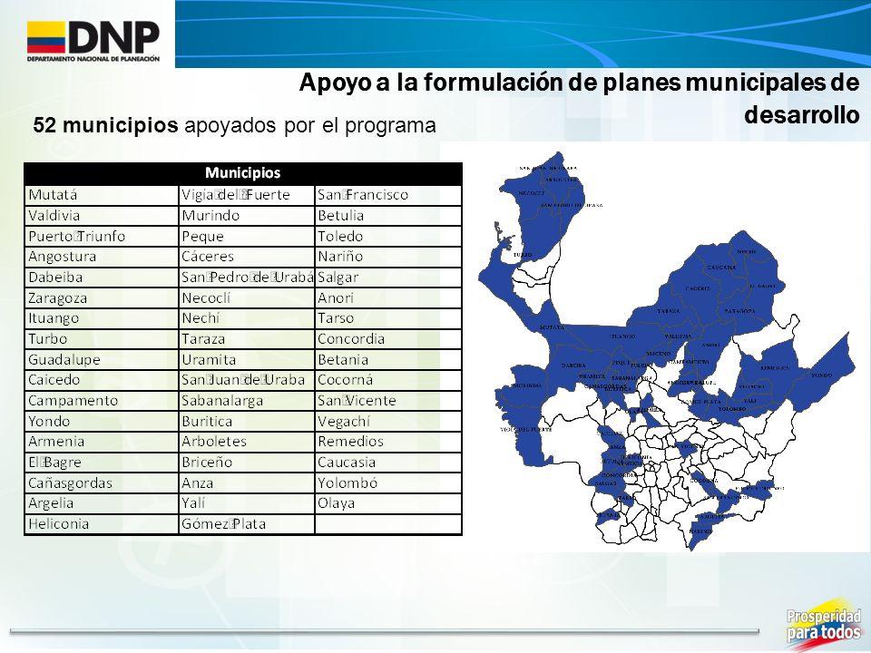Apoyo a la formulación de planes municipales de desarrollo 52 municipios apoyados por el programa