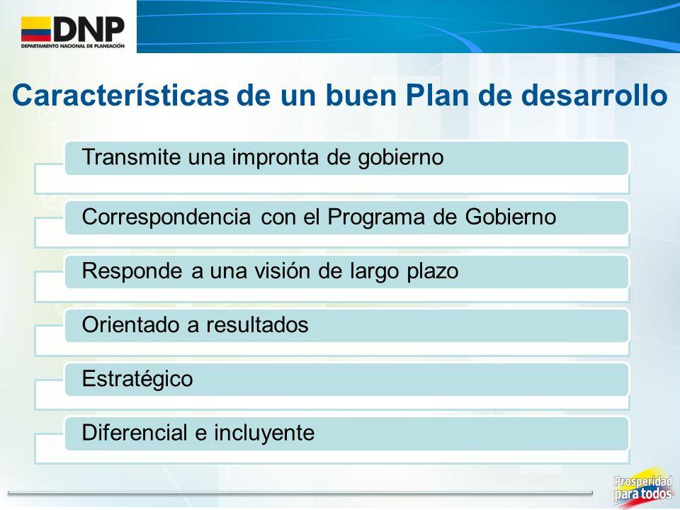 Transmite una impronta de gobiernoCorrespondencia con el Programa de GobiernoResponde a una visión de largo plazoOrientado a resultados Estratégico Diferencial e incluyente Características de un buen Plan de desarrollo