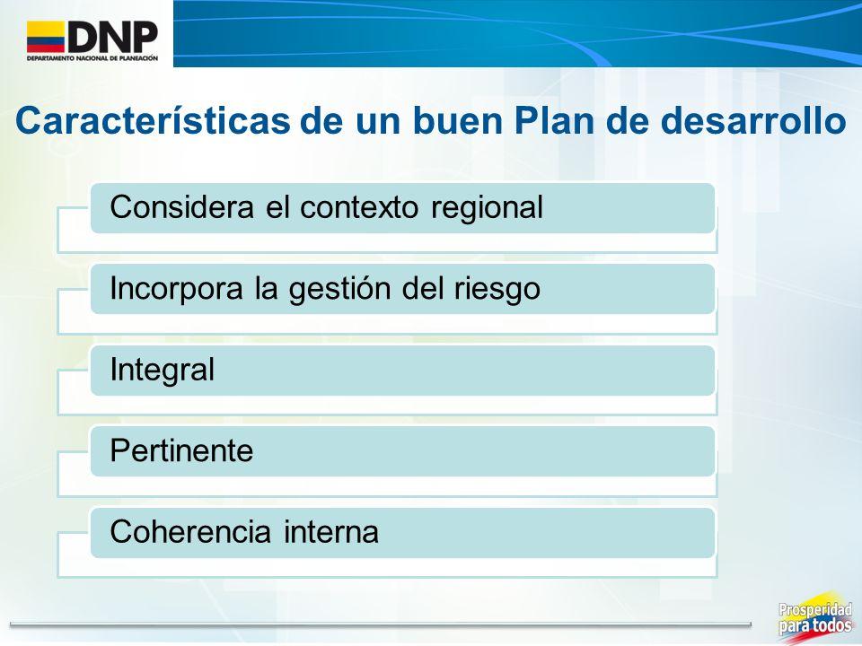 Considera el contexto regionalIncorpora la gestión del riesgoIntegralPertinenteCoherencia interna Características de un buen Plan de desarrollo