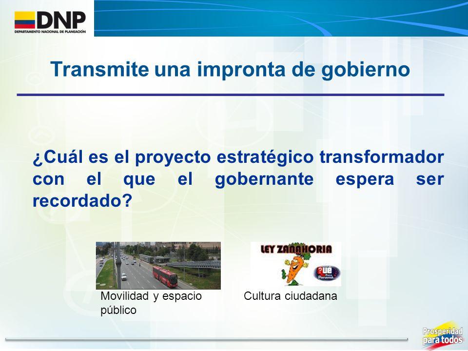¿Cuál es el proyecto estratégico transformador con el que el gobernante espera ser recordado? Transmite una impronta de gobierno Cultura ciudadanaMovi