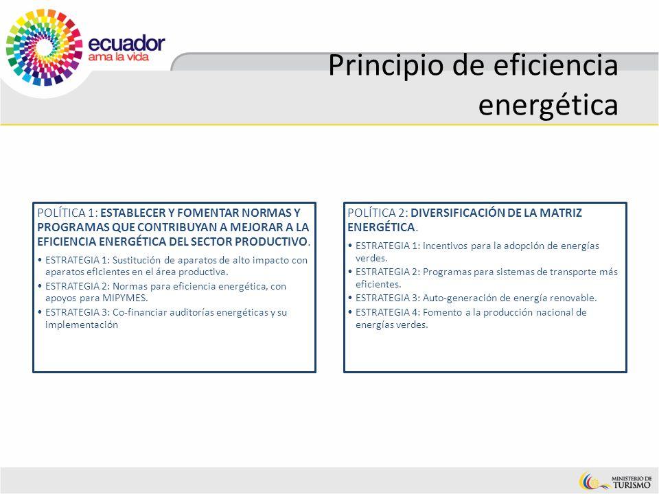 Principio de eficiencia energética POLÍTICA 1: ESTABLECER Y FOMENTAR NORMAS Y PROGRAMAS QUE CONTRIBUYAN A MEJORAR A LA EFICIENCIA ENERGÉTICA DEL SECTO