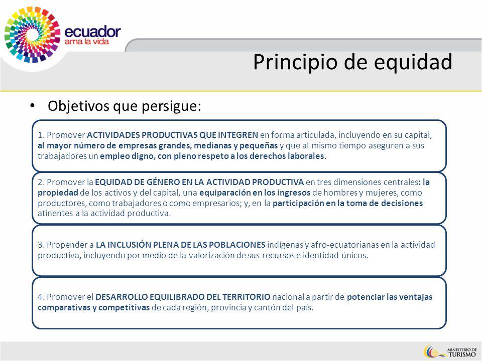 Principio de equidad Objetivos que persigue: 1. Promover ACTIVIDADES PRODUCTIVAS QUE INTEGREN en forma articulada, incluyendo en su capital, al mayor
