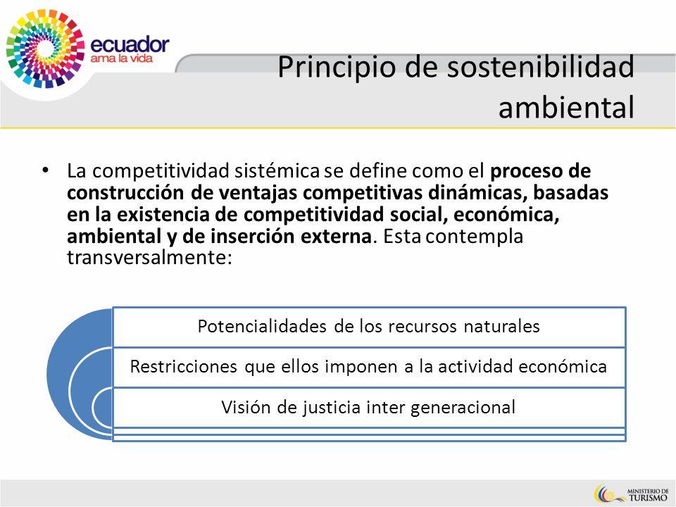Principio de sostenibilidad ambiental La competitividad sistémica se define como el proceso de construcción de ventajas competitivas dinámicas, basada