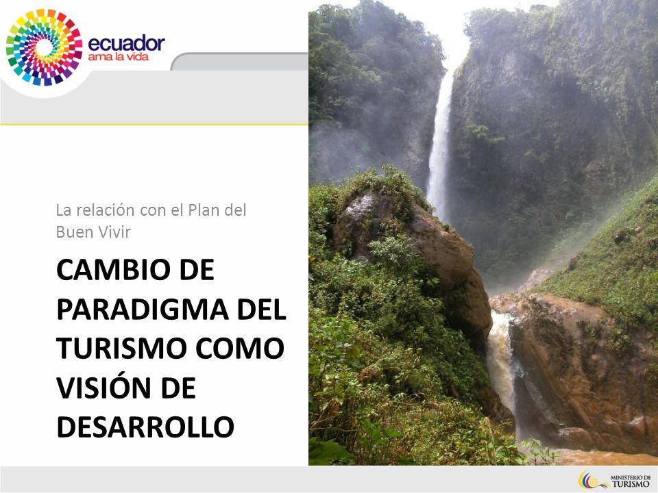 CAMBIO DE PARADIGMA DEL TURISMO COMO VISIÓN DE DESARROLLO La relación con el Plan del Buen Vivir