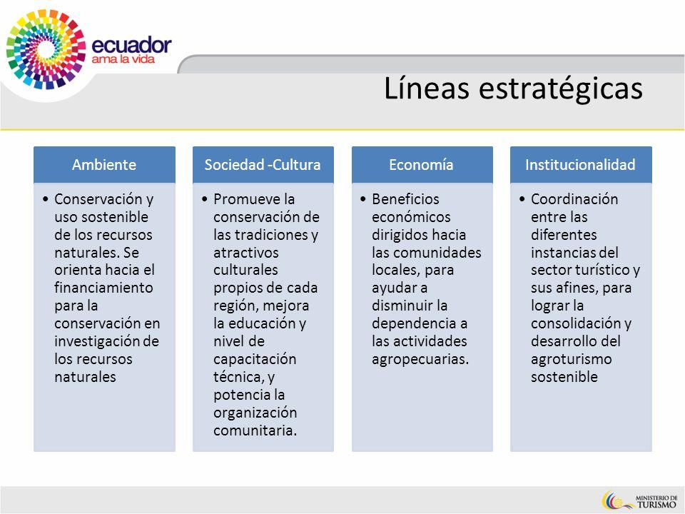 Líneas estratégicas Ambiente Conservación y uso sostenible de los recursos naturales. Se orienta hacia el financiamiento para la conservación en inves