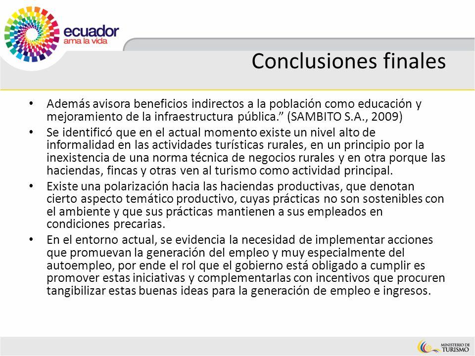 Conclusiones finales Además avisora beneficios indirectos a la población como educación y mejoramiento de la infraestructura pública. (SAMBITO S.A., 2