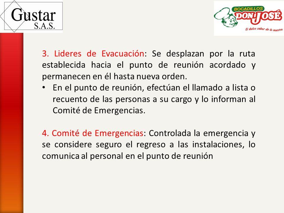 3. Lideres de Evacuación: Se desplazan por la ruta establecida hacia el punto de reunión acordado y permanecen en él hasta nueva orden. En el punto de