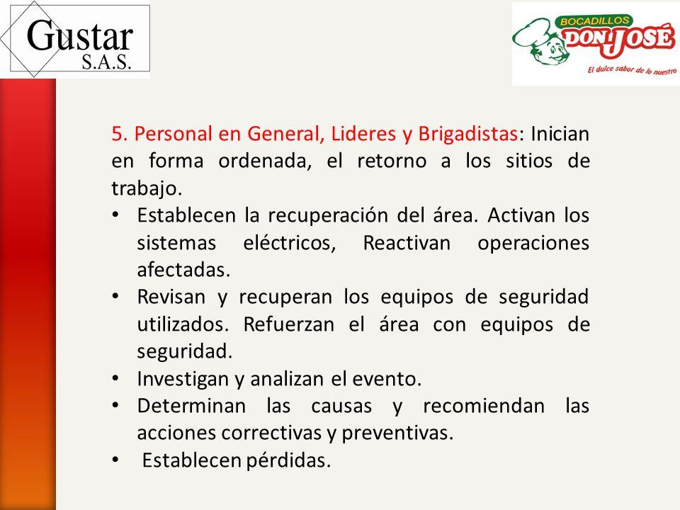 5. Personal en General, Lideres y Brigadistas: Inician en forma ordenada, el retorno a los sitios de trabajo. Establecen la recuperación del área. Act
