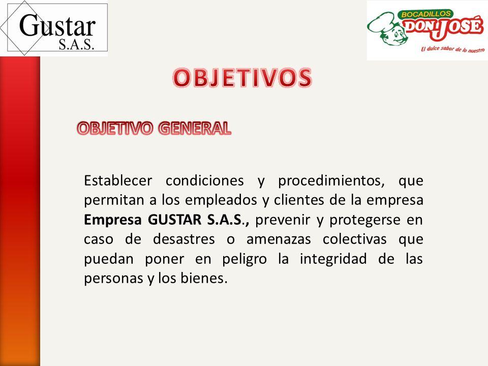Establecer condiciones y procedimientos, que permitan a los empleados y clientes de la empresa Empresa GUSTAR S.A.S., prevenir y protegerse en caso de