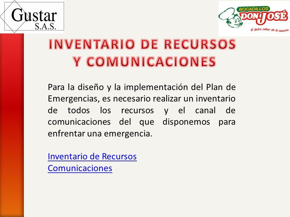 Para la diseño y la implementación del Plan de Emergencias, es necesario realizar un inventario de todos los recursos y el canal de comunicaciones del