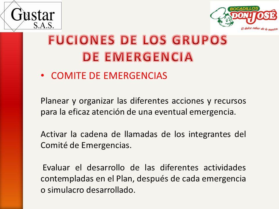 COMITE DE EMERGENCIAS Planear y organizar las diferentes acciones y recursos para la eficaz atención de una eventual emergencia. Activar la cadena de