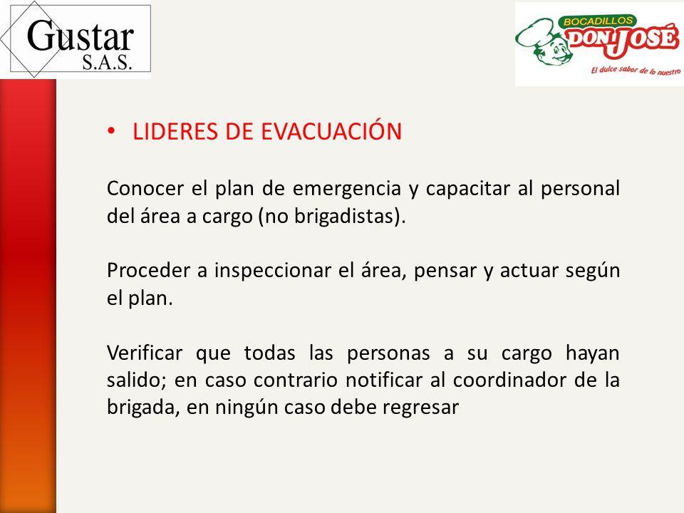 LIDERES DE EVACUACIÓN Conocer el plan de emergencia y capacitar al personal del área a cargo (no brigadistas). Proceder a inspeccionar el área, pensar