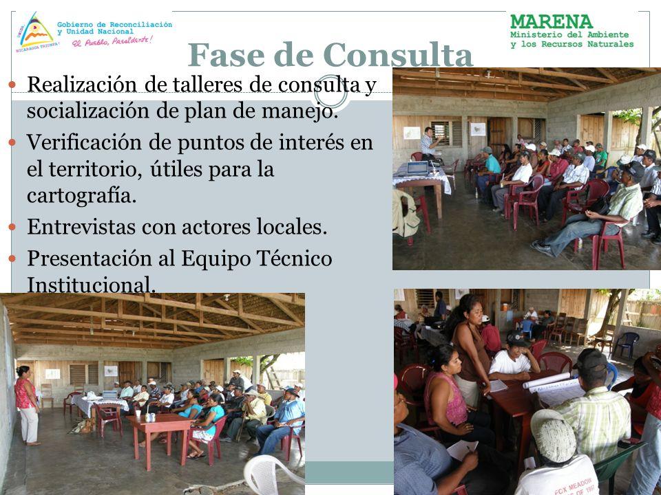 Fase de Consulta Realización de talleres de consulta y socialización de plan de manejo. Verificación de puntos de interés en el territorio, útiles par