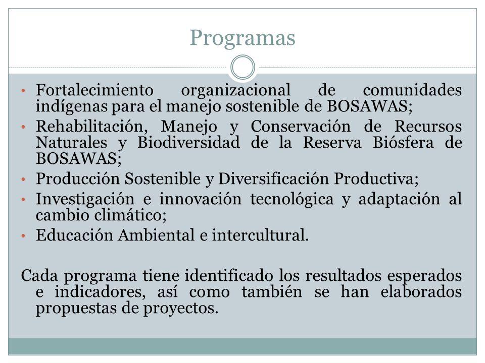 Programas Fortalecimiento organizacional de comunidades indígenas para el manejo sostenible de BOSAWAS; Rehabilitación, Manejo y Conservación de Recur