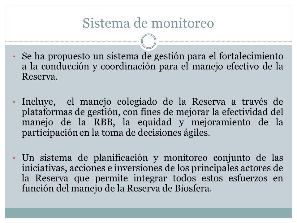Sistema de monitoreo Se ha propuesto un sistema de gestión para el fortalecimiento a la conducción y coordinación para el manejo efectivo de la Reserv