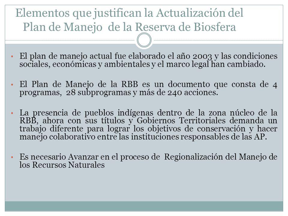 Elementos que justifican la Actualización del Plan de Manejo de la Reserva de Biosfera El plan de manejo actual fue elaborado el año 2003 y las condic