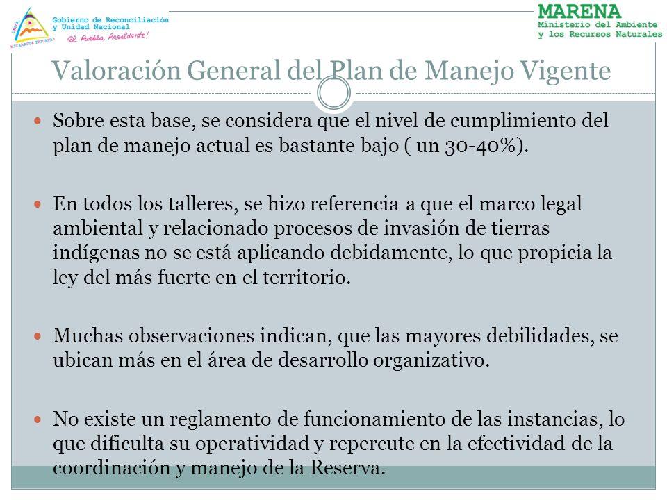 Valoración General del Plan de Manejo Vigente Sobre esta base, se considera que el nivel de cumplimiento del plan de manejo actual es bastante bajo (