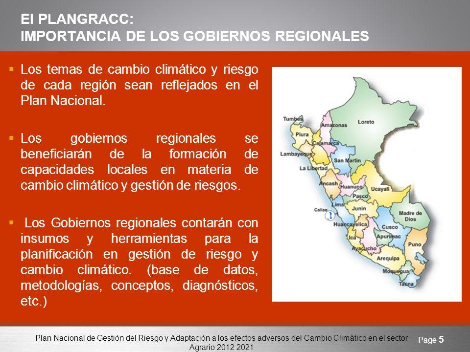 Plan Nacional de Gestión del Riesgo y Adaptación a los efectos adversos del Cambio Climático en el sector Agrario 2012 2021 Page 6 II.