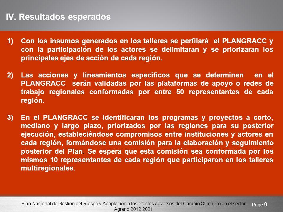 Plan Nacional de Gestión del Riesgo y Adaptación a los efectos adversos del Cambio Climático en el sector Agrario 2012 2021 Page 10 Gracias