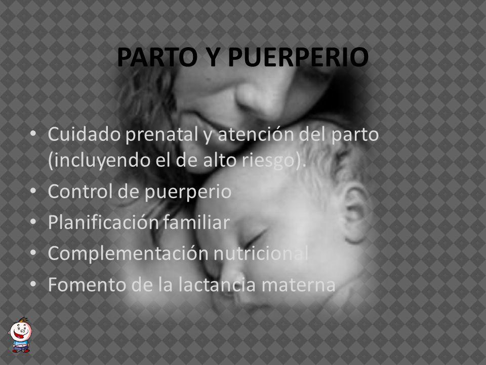 PLANIFICACIÓN FAMILIAR Planificación familiar (tanto quirúrgica como no quirúrgica) Consejería en salud reproductiva Citología cervicouterina Exámen de seno.