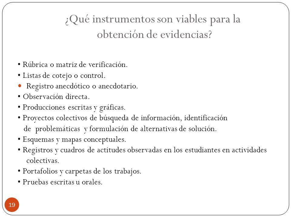 ¿Qué instrumentos son viables para la obtención de evidencias? Rúbrica o matriz de verificación. Listas de cotejo o control. Registro anecdótico o ane