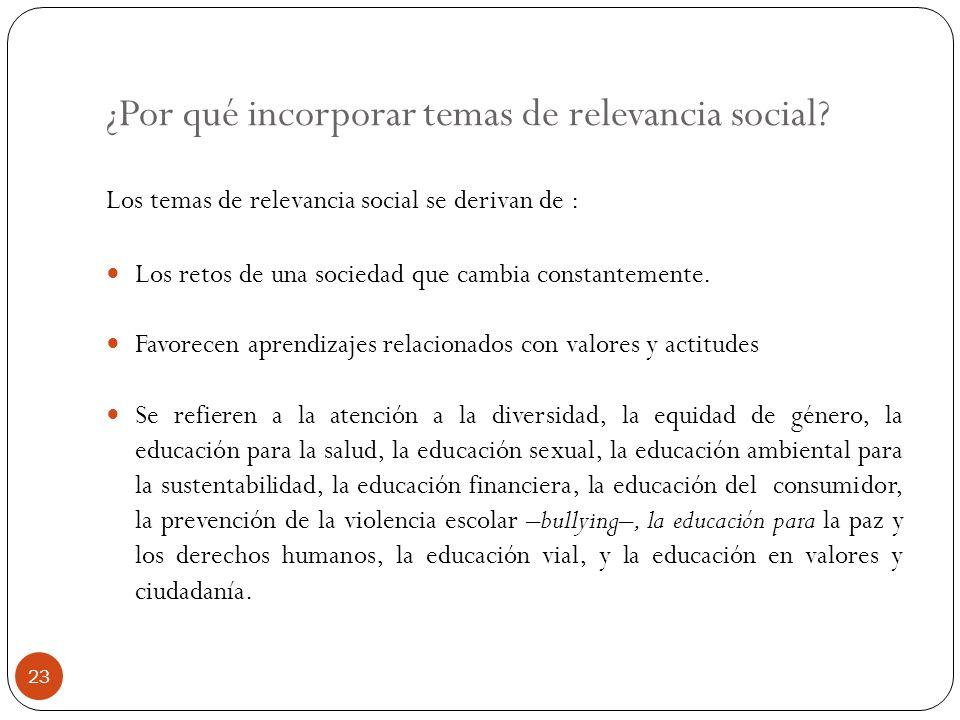 ¿Por qué incorporar temas de relevancia social? Los temas de relevancia social se derivan de : Los retos de una sociedad que cambia constantemente. Fa