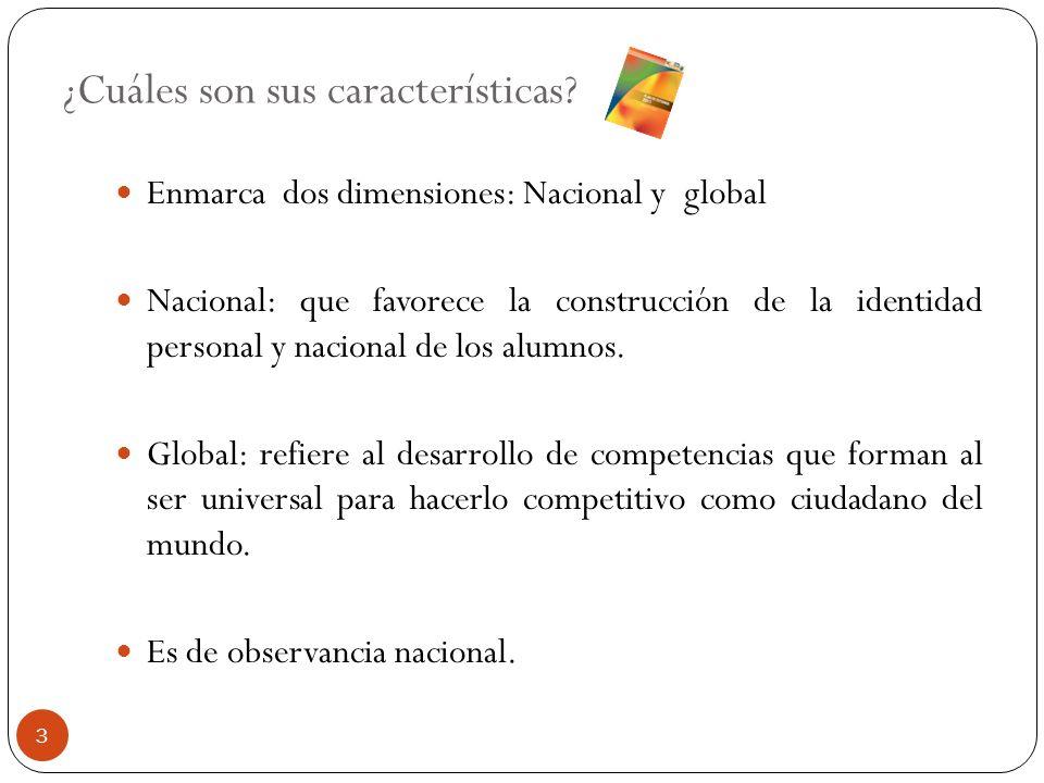 ¿Cuáles son sus características? Enmarca dos dimensiones: Nacional y global Nacional: que favorece la construcción de la identidad personal y nacional