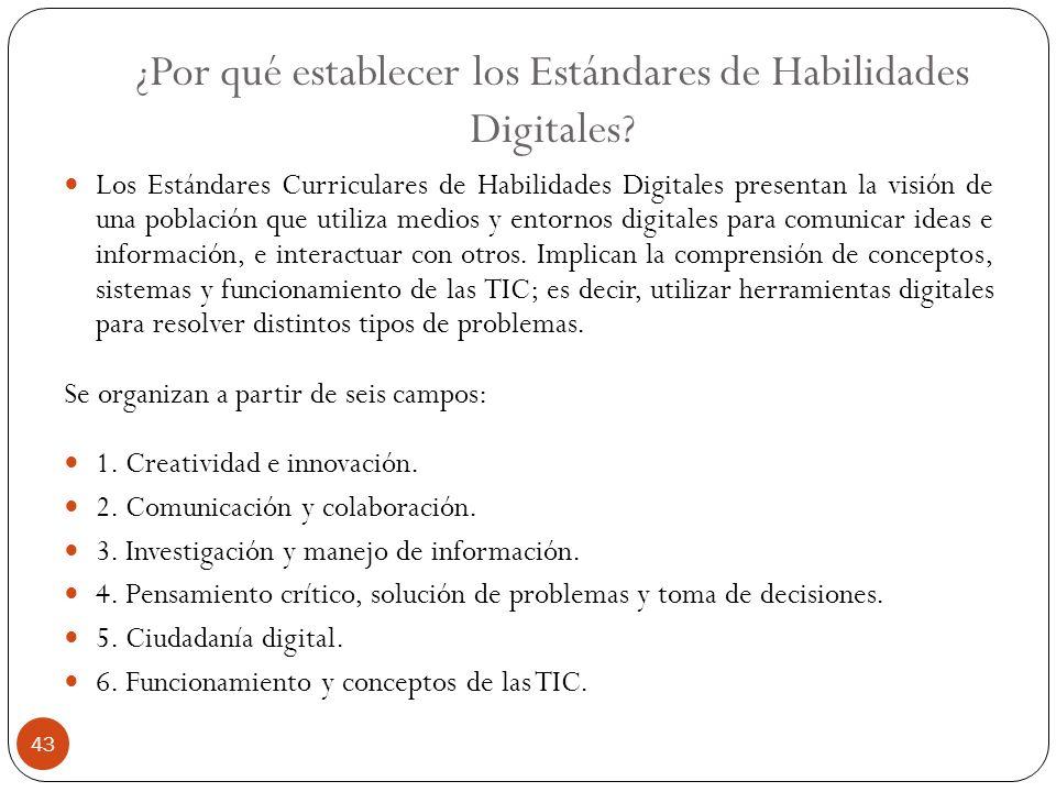 ¿Por qué establecer los Estándares de Habilidades Digitales? Los Estándares Curriculares de Habilidades Digitales presentan la visión de una población
