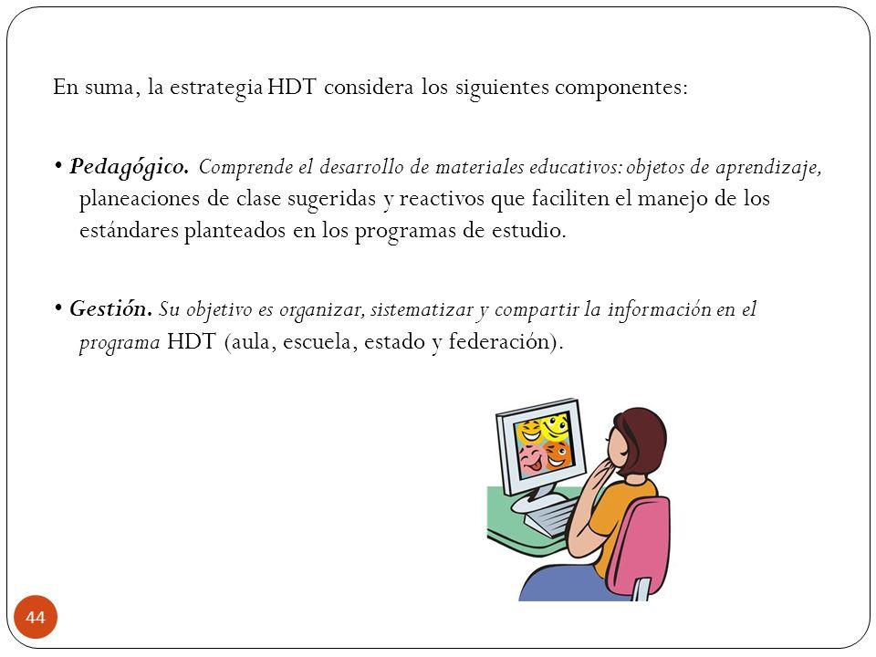 En suma, la estrategia HDT considera los siguientes componentes: Pedagógico. Comprende el desarrollo de materiales educativos: objetos de aprendizaje,