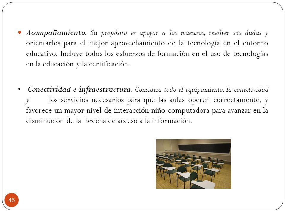 Acompañamiento. Su propósito es apoyar a los maestros, resolver sus dudas y orientarlos para el mejor aprovechamiento de la tecnología en el entorno e
