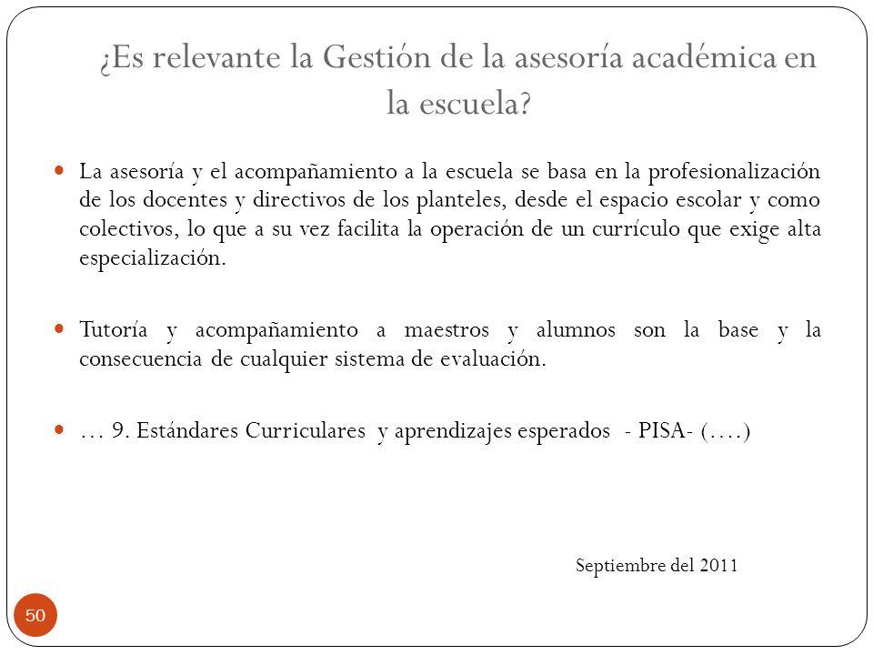 ¿Es relevante la Gestión de la asesoría académica en la escuela? La asesoría y el acompañamiento a la escuela se basa en la profesionalización de los