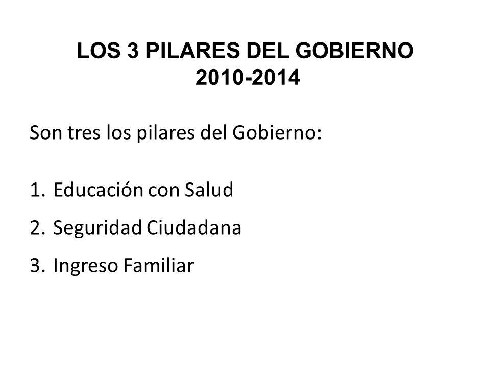 LOS 3 PILARES DEL GOBIERNO 2010-2014 Son tres los pilares del Gobierno: 1. Educación con Salud 2. Seguridad Ciudadana 3. Ingreso Familiar