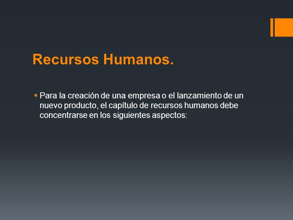 Recursos Humanos. Para la creación de una empresa o el lanzamiento de un nuevo producto, el capítulo de recursos humanos debe concentrarse en los sigu