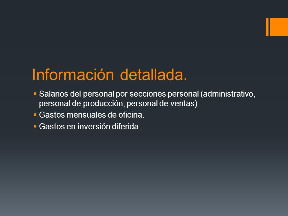 Información detallada. Salarios del personal por secciones personal (administrativo, personal de producción, personal de ventas) Gastos mensuales de o
