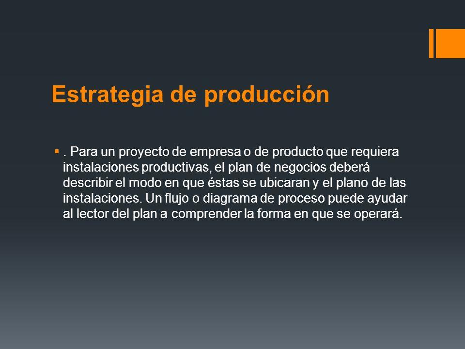 Estrategia de producción. Para un proyecto de empresa o de producto que requiera instalaciones productivas, el plan de negocios deberá describir el mo