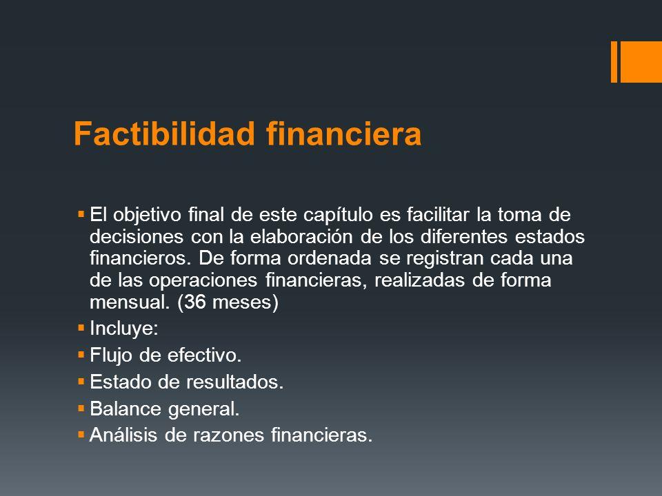 Factibilidad financiera El objetivo final de este capítulo es facilitar la toma de decisiones con la elaboración de los diferentes estados financieros