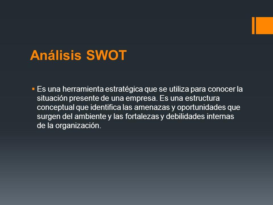 Análisis SWOT Es una herramienta estratégica que se utiliza para conocer la situación presente de una empresa. Es una estructura conceptual que identi