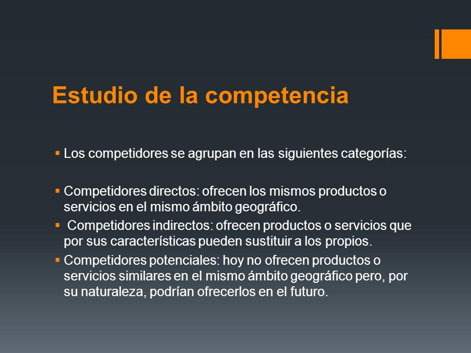 Estudio de la competencia Los competidores se agrupan en las siguientes categorías: Competidores directos: ofrecen los mismos productos o servicios en
