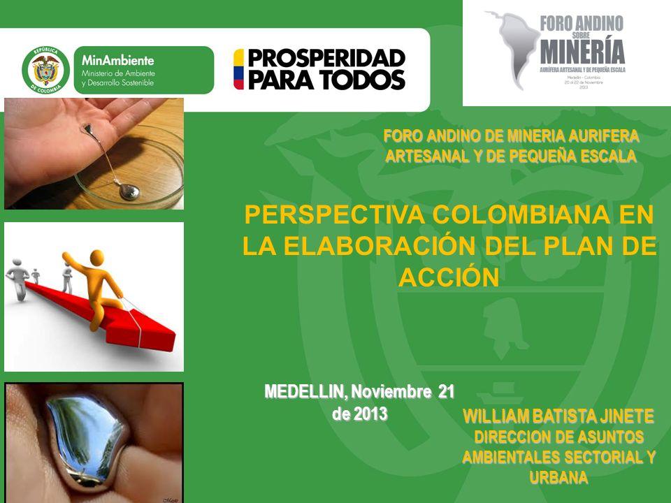 Título Subtítulo o texto necesario MEDELLIN, Noviembre 21 de 2013 PERSPECTIVA COLOMBIANA EN LA ELABORACIÓN DEL PLAN DE ACCIÓN FORO ANDINO DE MINERIA A