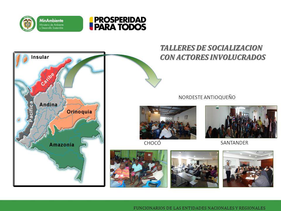 FUNCIONARIOS DE LAS ENTIDADES NACIONALES Y REGIONALES CHOCÓ NORDESTE ANTIOQUEÑO SANTANDER TALLERES DE SOCIALIZACION CON ACTORES INVOLUCRADOS