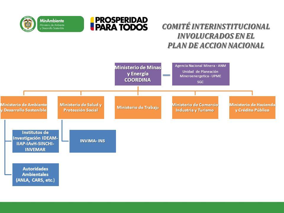 COMITÉ INTERINSTITUCIONAL INVOLUCRADOS EN EL PLAN DE ACCION NACIONAL Ministerio de Minas y Energía COORDINA Ministerio de Ambiente y Desarrollo Sosten