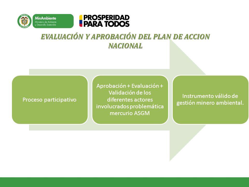EVALUACIÓN Y APROBACIÓN DEL PLAN DE ACCION NACIONAL Proceso participativo Aprobación + Evaluación + Validación de los diferentes actores involucrados