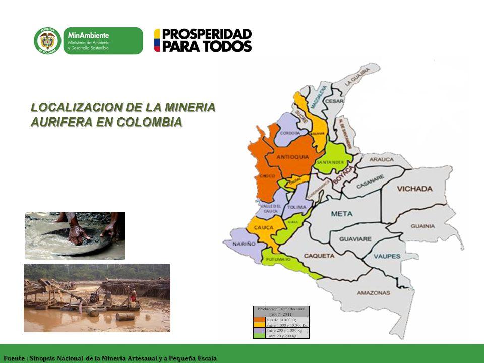 Fuente : Sinopsis Nacional de la Minería Artesanal y a Pequeña Escala LOCALIZACION DE LA MINERIA AURIFERA EN COLOMBIA
