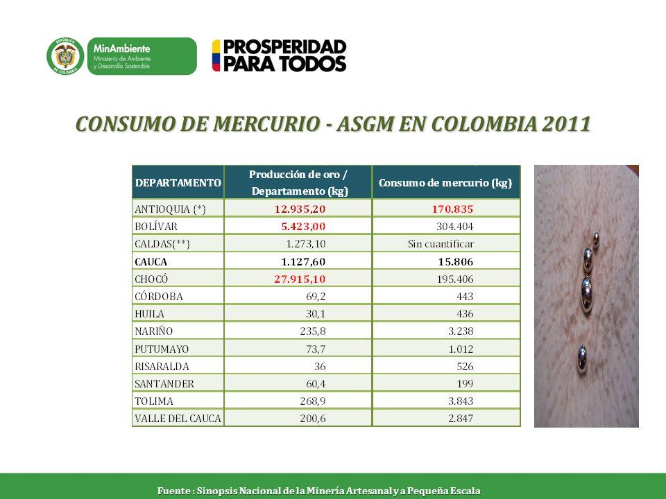 CONSUMO DE MERCURIO - ASGM EN COLOMBIA 2011 Fuente : Sinopsis Nacional de la Minería Artesanal y a Pequeña Escala
