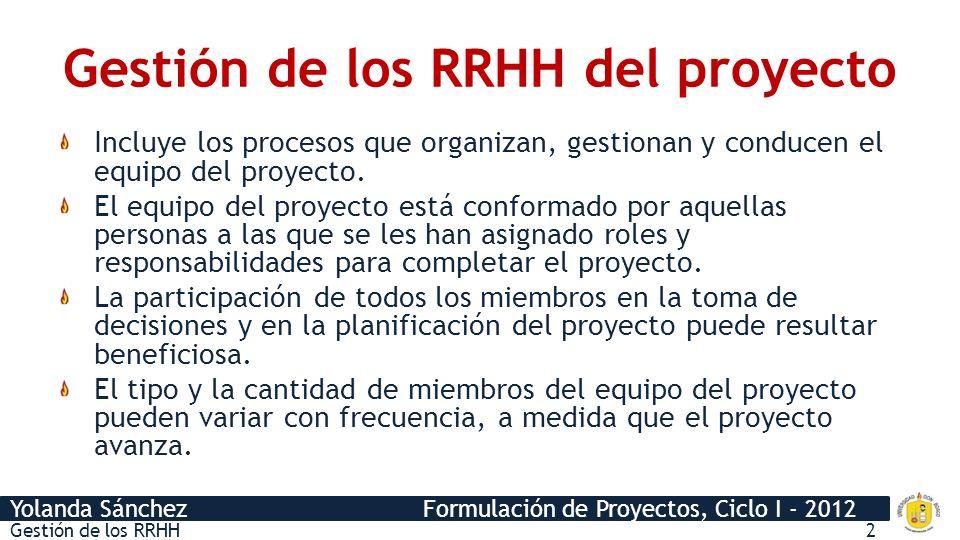 Yolanda Sánchez Formulación de Proyectos, Ciclo I - 2012 Gestión de los RRHH3 PROYECTO EJECUCIÓN, IMPLEMENTACIÓN O CONSTRUCCIÓN (INVERSIÓN) INICIO FIN OPERACIÓN ESTUDIOS PERFIL Variación del RRHH del proyecto TIEMPO CANTIDAD DE RRHH