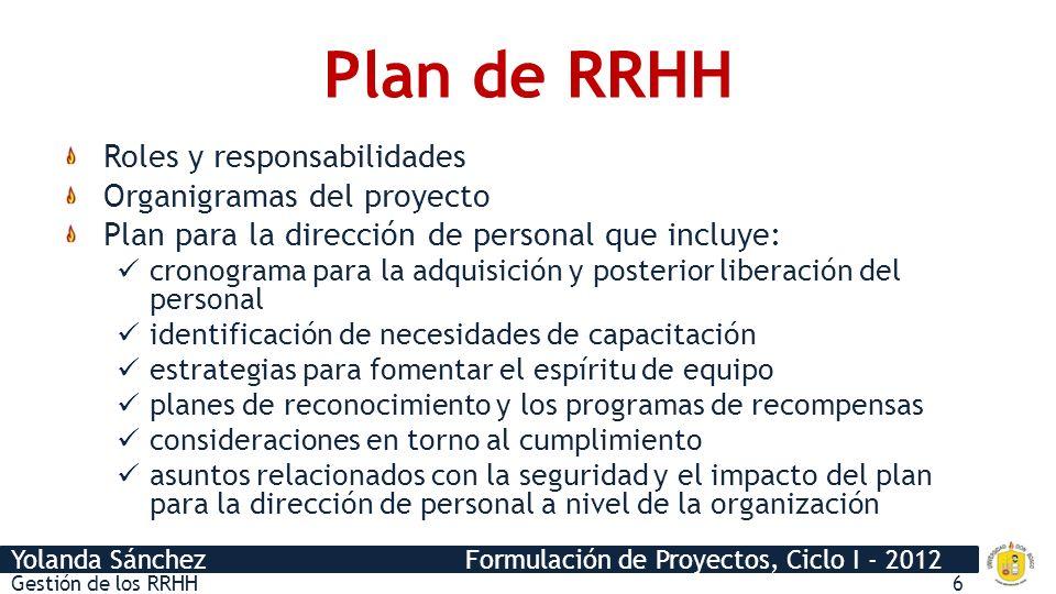 Yolanda Sánchez Formulación de Proyectos, Ciclo I - 2012 Plan de RRHH Roles y responsabilidades Organigramas del proyecto Plan para la dirección de pe