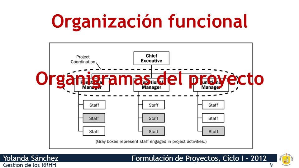 Yolanda Sánchez Formulación de Proyectos, Ciclo I - 2012 Organización funcional Gestión de los RRHH9 Organigramas del proyecto