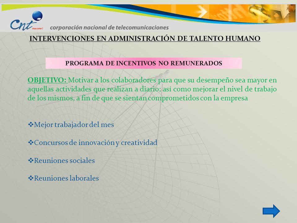 INTERVENCIONES EN ADMINISTRACIÓN DE TALENTO HUMANO PROGRAMA DE INCENTIVOS NO REMUNERADOS OBJETIVO: Motivar a los colaboradores para que su desempeño s